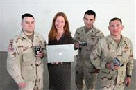 From left: Specialist Mike Moriarty, director Deborah Scranton,  Sergeant Zach Bazzi, and Sergeant Steve Pink.
