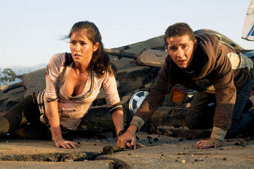 Megan Fox and Shia LaBeouf take cover