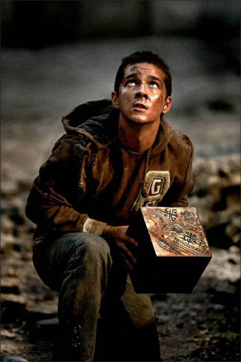 Shia LaBeouf protects the allspark cube