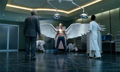 Angel (Ben Foster) unfurls his mutant powers, to the amazement of his father, Warren Worthington II (Michael Murphy), and geneticist Dr. Kavita Rao (Shohreh Aghdashloo). - Large