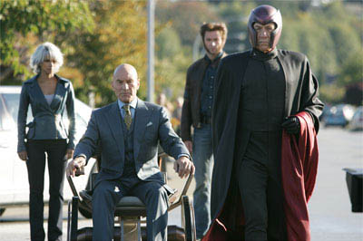 Storm (Halle Berry), Xavier (Patrick Stewart), Wolverine (Hugh Jackman) and Magneto (Ian McKellen) arrive for a fateful encounter with Jean Grey.
