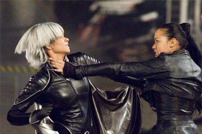 Storm (Halle Berry, left) and Callisto (Dania Ramirez) use their formidable powers against each other in a no-holds-barred fight.