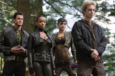 The young members of Magneto's Brotherhood of Evil Mutants -- (from left) Multiple Man (Eric Dane), Callisto (Dania Ramirez), Arclight (Omahyra) and Pyro (Aaron Stanford) – prepare for battle.
