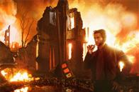 "Wolverine (Hugh Jackman) surveys a wasteland that is really a simulation in the X-Men ""Danger Room."""