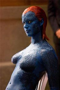 Rebecca Romijn returns as the blue-skinned, shape-shifting Mystique.