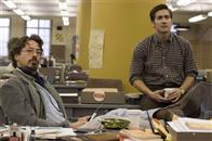 "Paul Avery (ROBERT DOWNEY JR., left) and Robert Graysmith (JAKE GYLLENHAAL, right) are employees of the San Francisco Chronicle who get tangled up in the clues and symbols left by a serial killer in Paramount Pictures and Warner Bros. Pictures' thriller ""Zodiac."""