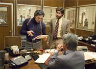"Inspector Dave Toschi (MARK RUFFALO, left) confers with Duffy Jennings (ADAM GOLDBERG, right) about the case of a serial killer in Paramount Pictures and Warner Bros. Pictures' thriller ""Zodiac."""